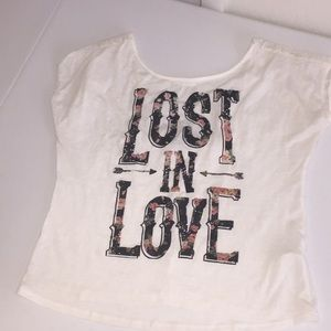 White lace back Lost in Love Tee
